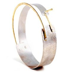 bangle bracelet - hammered sterling silver with brass accent