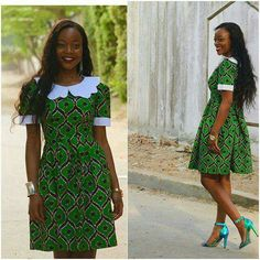 White collar and ankara African Dresses For Women, African Print Dresses, African Attire, African Wear, African Women, African Prints, African Style, African Fashion Ankara, Ghanaian Fashion