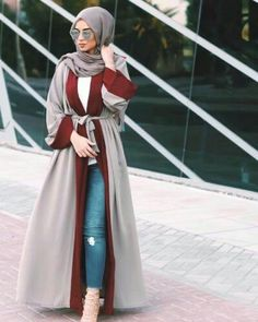 Luxe poly fabric abaya in gray with a maroon trim. Wear it casual over jeans and… Luxe poly fabric abaya in gray with a maroon trim. Wear it casual over jeans and a blouse or formal … , Islamic Fashion, Muslim Fashion, Modest Fashion, Fashion Outfits, Eid Outfits, Hijab Fashion Summer, Ootd Fashion, Fashion 2017, Fashion Bags