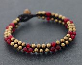 Round Red Jade Beaded Bracelet
