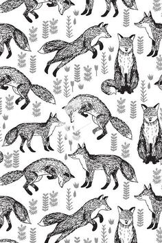 Foxes Fabric // Black and White Nursery by andrea_lauren - Hand illustrated black foxes on a white background on fabric, wallpaper, and gift wrap. Playful fox pattern and plants by indie designer Andrea Lauren. Baby Boy Background, Pattern Wallpaper, Fabric Wallpaper, Nursery Wallpaper, Disney Wallpaper, Fox Fabric, Fox Illustration, White Nursery, Fox Pattern