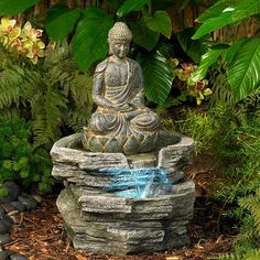 The Buddha sits peacefully surrounded by flowing water, giving this indoor-outdoor fountain design a tranquil feel. high x deep x 11 wide. Style # 46100 at Lamps Plus. Indoor Water Fountains, Indoor Fountain, Table Fountain, Outdoor Waterfall Fountain, Outdoor Waterfalls, Fountain Design, Sitting Buddha, Meditation Garden, Buddha Zen