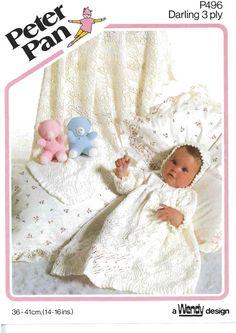 Baby Christening Dress Knit Pattern shawl by VintagePatternEmpor