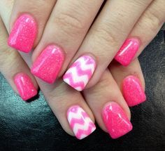 pink acrylic nails with white combine - Being Pretty with Pink ...