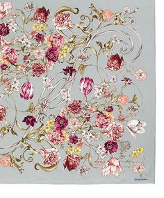 "Silk Twill Tossed Bouquets 36"" Square 
