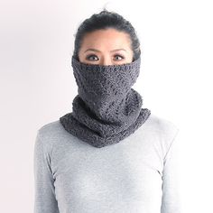 Knitted cow, winter scarf, neck warmer, knitted neckwarmer, chunky knit cowl, knit neckwarmer, gray knit cowl, green knit cowl, knit snood