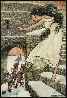 "Illustration by Frank Cheyne Papé -- from ""The Russian Story Book"" by Richard Wilson published in 1916. ...Then the Princess Ran With Her Feet All Bare, Out Into the Open Corridor"