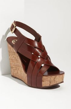 New Tory Burch Ace Wedge Sandals Brown Leather 6