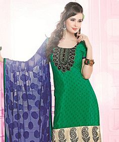 Lend that much coveted grace to your outfit with this pretty suit! In one swift move  these exquisite piece can instil a dash of feminity coupled with ethnicity and beauty!BRAND: BrijrajCATEGORY: Unstitched Suit with DupattaARTICLECOLOURMATERIALLENGTHTopGreenPoly Crepe2.75 metersBottomBluePoly Crepe2.25 metersDupattaBlueGeorgette Viscose2.30 metersWe would always want to send you what we showcase but there might be a slight variation in color due to photographic effects.  Also note that…