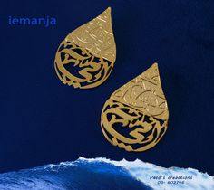 Earrings- 24k gold plated- teardrop shape- Arabic calligraphy- can be customized by any name, logo, or language