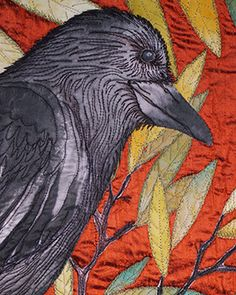 Crows are among the most intelligent members of the animal kingdom. Annies crow is made from hand painted silk, stitched to a radiant silk dupioni background. It will be shipped ready to hang. Thread Art, Thread Painting, Fabric Painting, Fabric Art, Bird Applique, Raven Art, Bird Quilt, Animal Quilts, Felt Birds