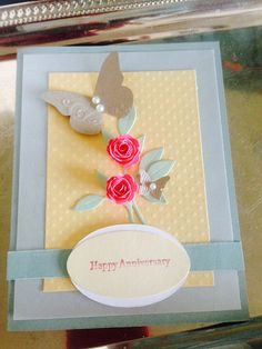 Anniversary Rose and Butterfly greeting card