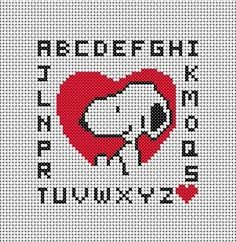 We heart Snoopy Embroidery Alphabet, Embroidery Thread, Embroidery Designs, Cross Stitch Boards, Cross Stitch Heart, Snoopy, Cross Stitch Designs, Cross Stitch Patterns, Stitch Cartoon