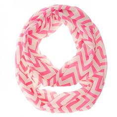 Zig Zag Neon Pink Infinity Scarf