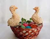 Two cute Ducklings from Straw, Dry Grass Ducks, Yellow Ducklings, Easter decoration, Ducklings from Natural Products, Handmade