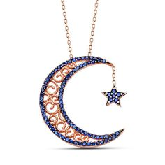 - Islamic Necklace - Crescent Moon and Star - Sterling Silver - Genuine 925 Sterling Silver Necklace - Decorated in blue zircon stones. - Rose plated Sterling Silver - Includes 45 cm chain and gift bo Jewelry Roll, Moon Jewelry, Cute Jewelry, Beaded Jewelry, Diamond Cross Necklaces, Silver Necklaces, Miraculous, Mens Sterling Silver Necklace, Onyx Necklace
