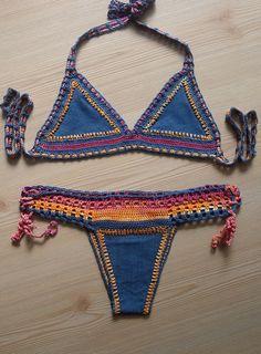 2015 summer jeans fabric crochet bikini women bikini set swimwear beach wear / FORMALHOUSE by formalhouse on Etsy (null)