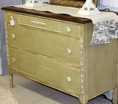 Stained top with Versailles Annie Sloan Chalk paint----I think I found what color I'm painting the bureaus and the vanity!