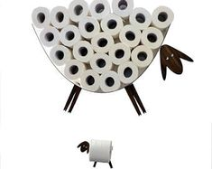 Set: shelf for storing paper hygienic and Sheep and lamb - toilet paper roll holder