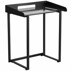 Contemporary Desk with Clear Tempered Glass and Black Frame, NAN-YLCD1233-GG by Flash Furniture | BizChair.com