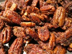 This is the best recipe for Pecans I've found...  Mix 1 cup sugar, 1 t. cinnamon and 1 t. salt.  Set aside.  Beat 1 egg white, 1 t. vanilla and 2 t. water until frothy.  Mix in 1 lb. pecans.  Add sugar mixture and mix well.  Spread on cookie sheet and bake at 300 degrees for 30 minutes, stirring twice.  Cool and then store in tight container.