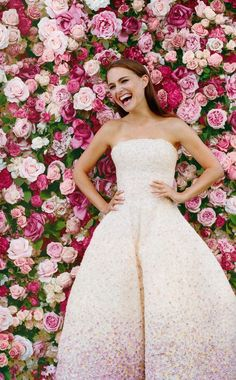 Flowers wall + a blush gown! Natalie Portman for Miss DIOR campaign