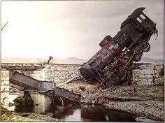 Albert Kahn: Ushak, Türkei. Verunglückte Lokomotive. Opérateur: Frédéric Gadmer, 6. Januar 1923