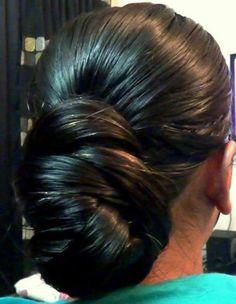 oily hair bun for long hair