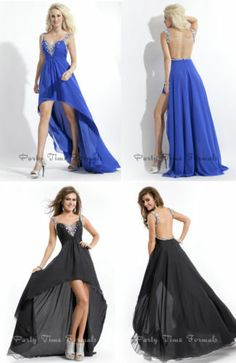 Crystal Spaghetti High Low Backless Chiffon Formal Evening Prom Cocktail Dresses