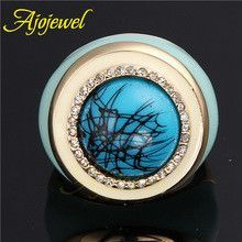 Ajojewel Size 8-10 Luxurious Anel De Ouro 18K Gold Plated Enamel Blue Bamboo Ring