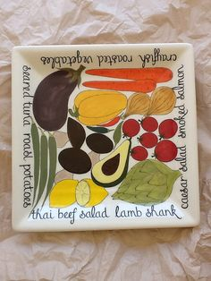 Hand painted ceramic square salad platter Janet Mimi Shiri Eddi Cape Town  info@medesign.co.za