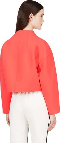 Kenzo - Coral Neoprene Jacket | SSENSE  Use this simple design as the inspiration to create your own version using a gorgeous 2 tone or lace mesh neoprene from Moodfabrics.com!! Example: product#'s 109219 or 305955