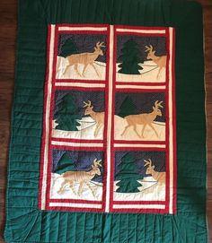 Handmade Christmas Holiday Winter Quilt Blanket Comforter Deer  | eBay