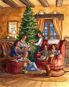 Preparing for Christmas Holiday Watercolor Illustration Art Old Time Christmas, Merry Christmas To All, Old Fashioned Christmas, Christmas Scenes, Cozy Christmas, Christmas Holidays, Vintage Christmas Images, Christmas Pictures, Christmas Paintings