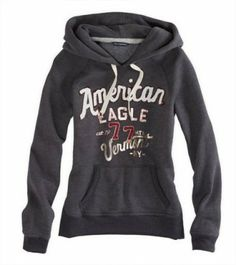 Moletom American Eagle Women's AE Graphic Resort Hoodie 14537685 Ebony #American Eagle#Moletom