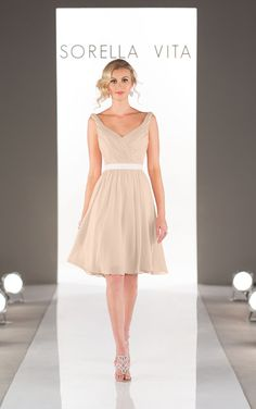 Elegant short cocktail length chiffon bridesmaid dresses featuring a ruched bodice with sweetheart neckline, flowy skirt and grosgrain ribbon sash.