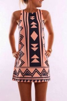 Perfect geometric print sleeveless jeanjail dress