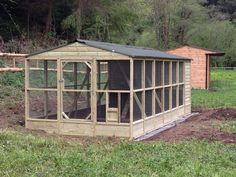 9x21' walk in chicken coop and run. This is a great design. It offers protection from winds and predators (especially if solid side walls were a bit higher) and it is well ventilated.
