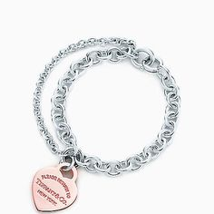 Return to Tiffany® double chain heart tag bracelet in silver and RUBEDO® metal.