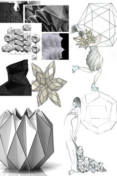 Fashion Portfolio layout - geometric fashion design, fabric manipulation research & sketches