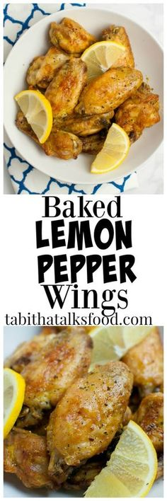 Baked Lemon Pepper Wings - Tabitha Talks Food These crispy baked lemon pepper chicken wings are a healthy alternative to the fried wings and they're so easy you'll enjoy them time and time again! Chicken Wing Recipes, Baked Chicken, Healthy Chicken, Oven Chicken, Shrimp Recipes, Grilled Chicken, Baked Lemon Pepper Wings, Lemon Pepper Chicken Wings Recipe Oven, Frango Chicken
