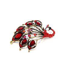Broche Paon rouge, magnifique bijou: http://www.laoula-bijoux.com/broche-fantaisie.htm