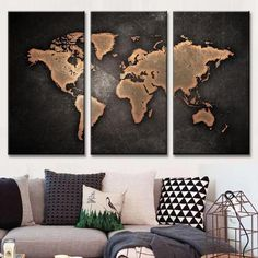 Splash watercolor world map canvas home wall art print decor no388 world map in black and brown gumiabroncs Choice Image