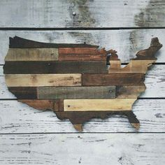 US map from reclaimed wood
