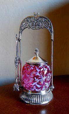 Victorian Antique Pickle Castor Cranberry Daisy Fern Northwood Glass Co   eBay