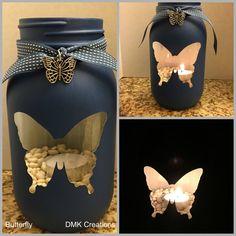 Butterfly Painted Mason Jar Tea Light Candle Holder, butterfly, painted mason jar, candle, tea light candle, lantern, mason jar, gift, cute