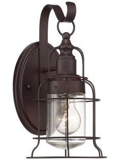 The Outdoor Living Transitional style Scout Small Wall Lantern from Savoy House is finished in English Bronze. The collection of Scout outdoor wall lanterns from Savoy House are a stylish combination of vintage-inspired cage structures, an Engl Outdoor Wall Lantern, Outdoor Wall Sconce, Outdoor Wall Lighting, Outdoor Walls, Lighting Ideas, Lantern Lighting, Barn Lighting, Industrial Lighting, Industrial Chic