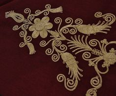 Contemporary (handmade) Turkish embroidery in 'kordon tutturma'-technique (= applied cord).  Ca. 2010.