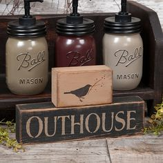 Outhouse with Crow Block set of 2 Country Signs, Primitive Folk Art, Window Sill, Decor Crafts, Crow, Soap, Crafty, Future, Bathroom