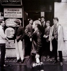 Mods.  Andy Summers and members of the band, Zoot Money, outside the Flamingo Club , London, 1964